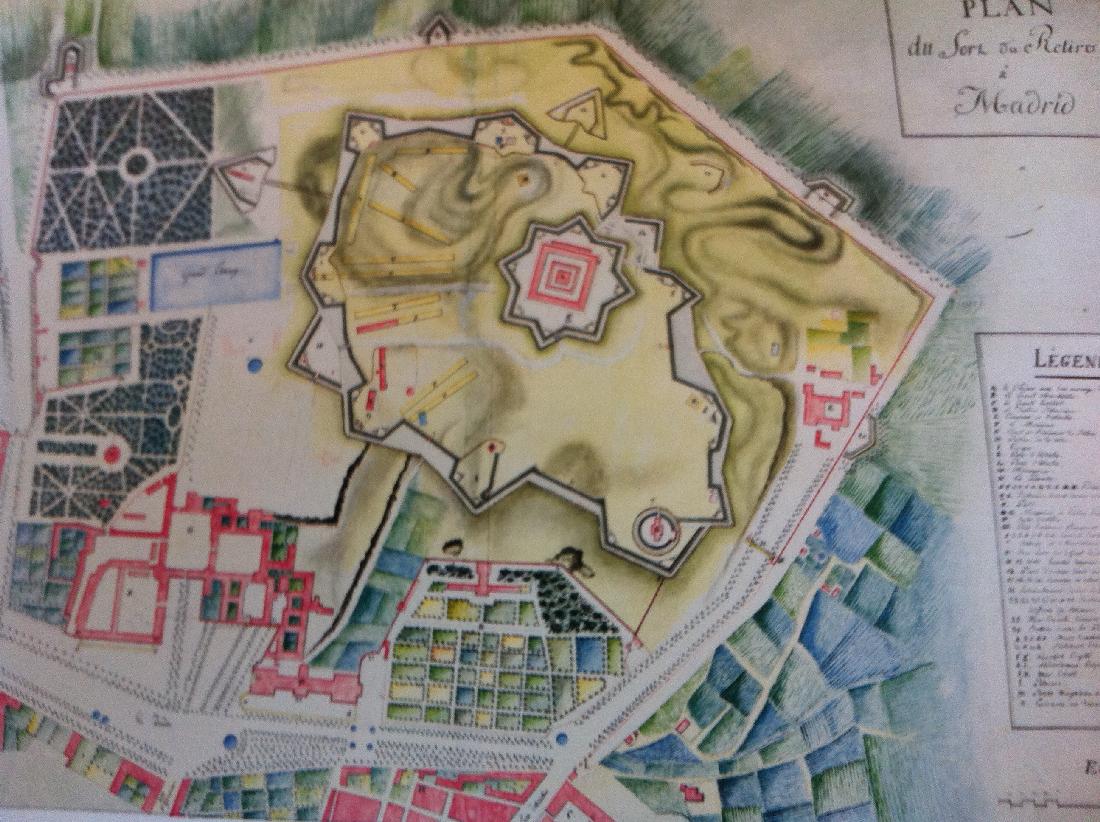 Mapa de las fortificaciones de Napoleón en el Retiro