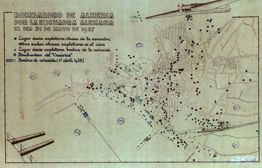 Bombardeo de Almería de 1937, en el plano de José Pradal