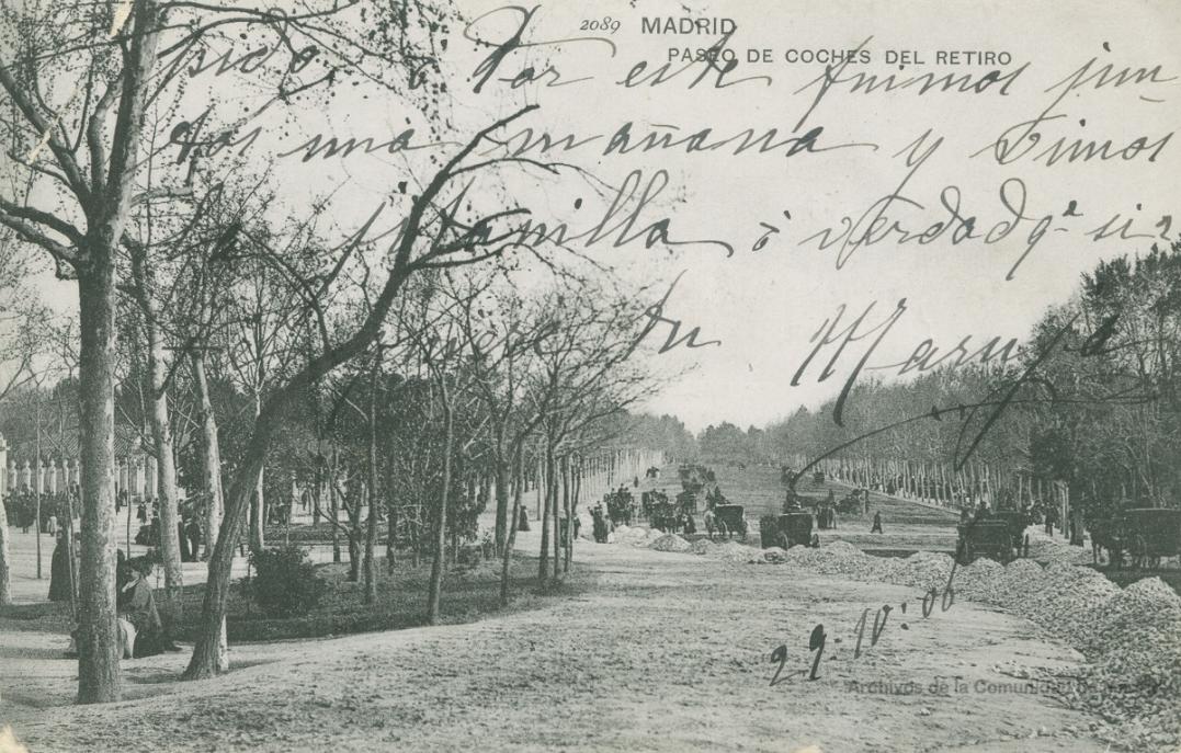 Paseo de Coches, obras en una postal de principios del XX