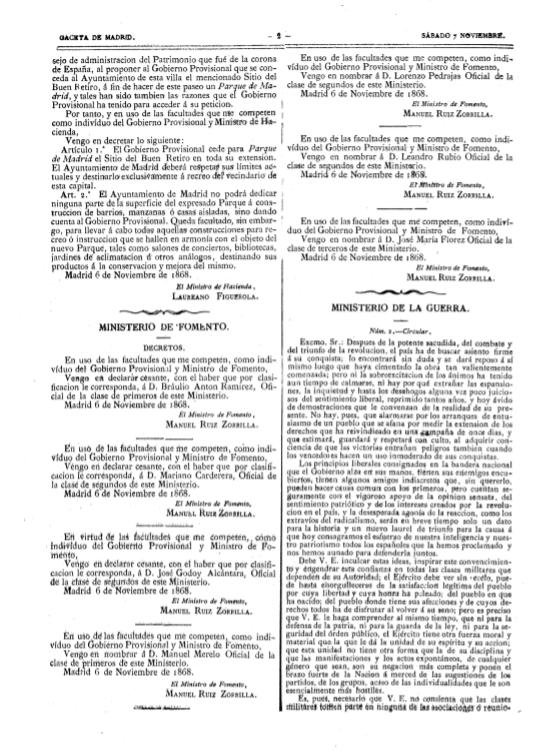 Decreto 6 de noviembre de 1868 de cesión del Retiro