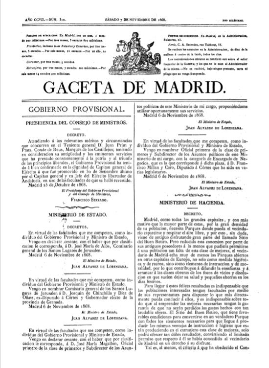 El decreto de cesión del Retiro en 1868