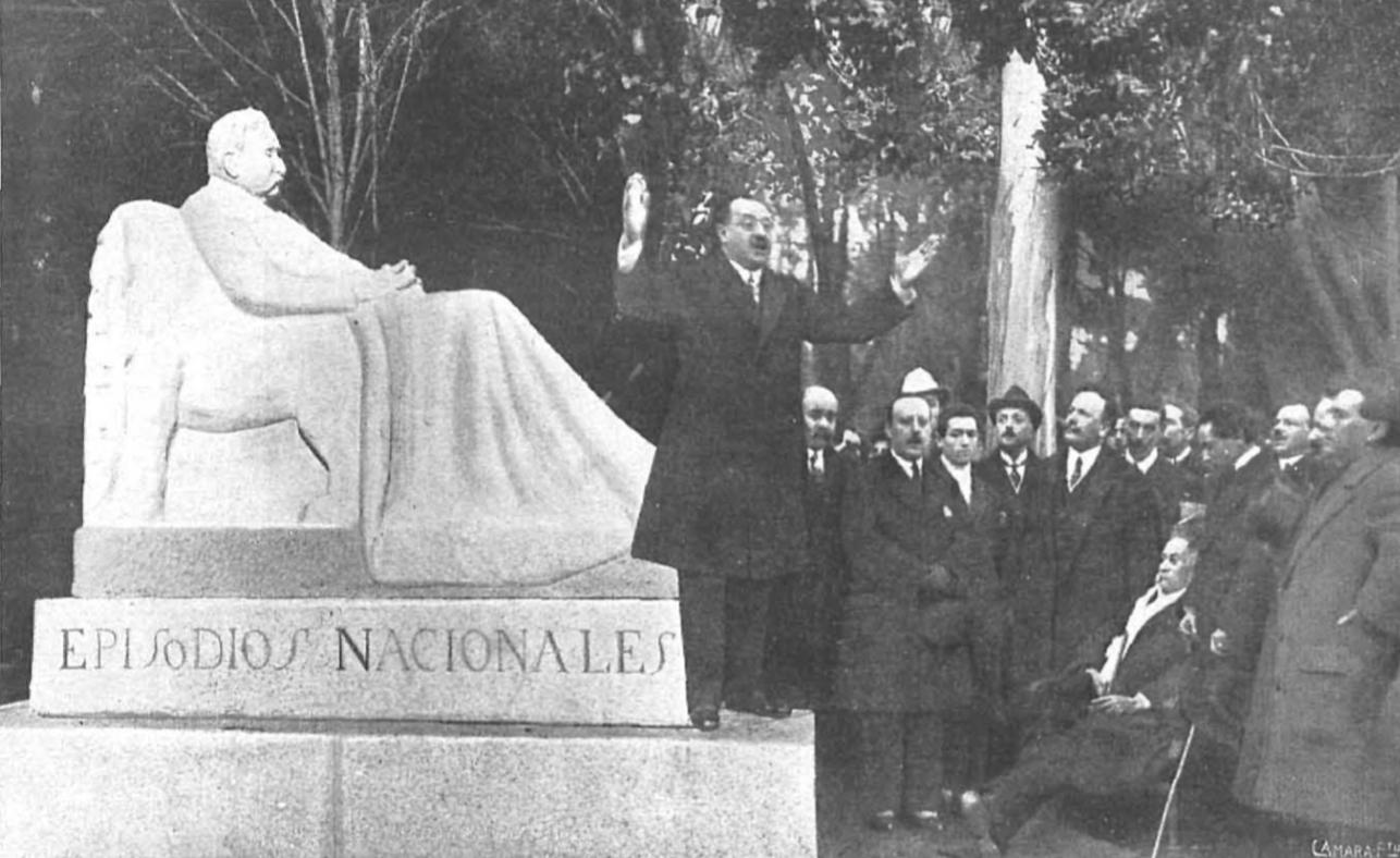 a inauguración del monumento a Galdós, en el periódico Nuevo Mundo de 1919