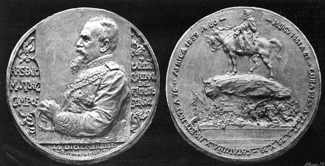 Medalla conmemorativa de la inauguración del monumento a Martínez Campos el 28 de enero de 1907 (Mariano Benlliure)