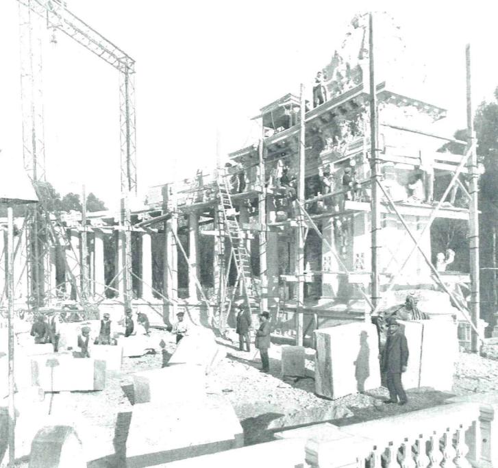 Obras en el Monumento a Alfonso XII de José Grasés Riera, 1914 La Esfera