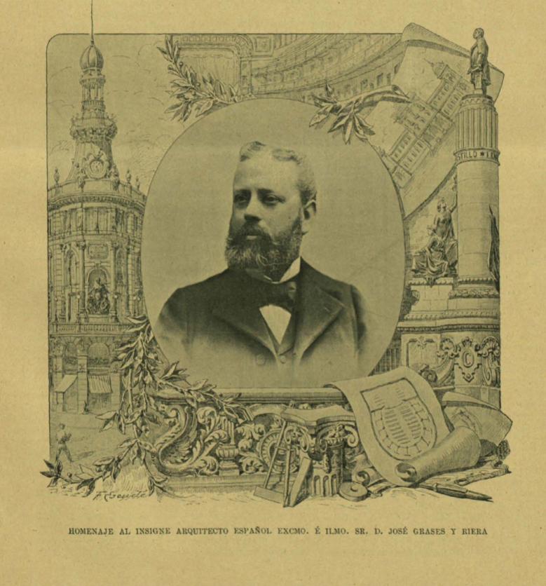 Retrato de José Grasés i Riera en el Album Ibero Americano (1901)